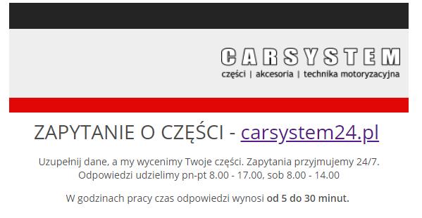 Formularz zapyta? o cz??ci samochodowe, klocki, sprz?g?a - motoryzacyjny sklep internetowy w Ostrowcu ?w.